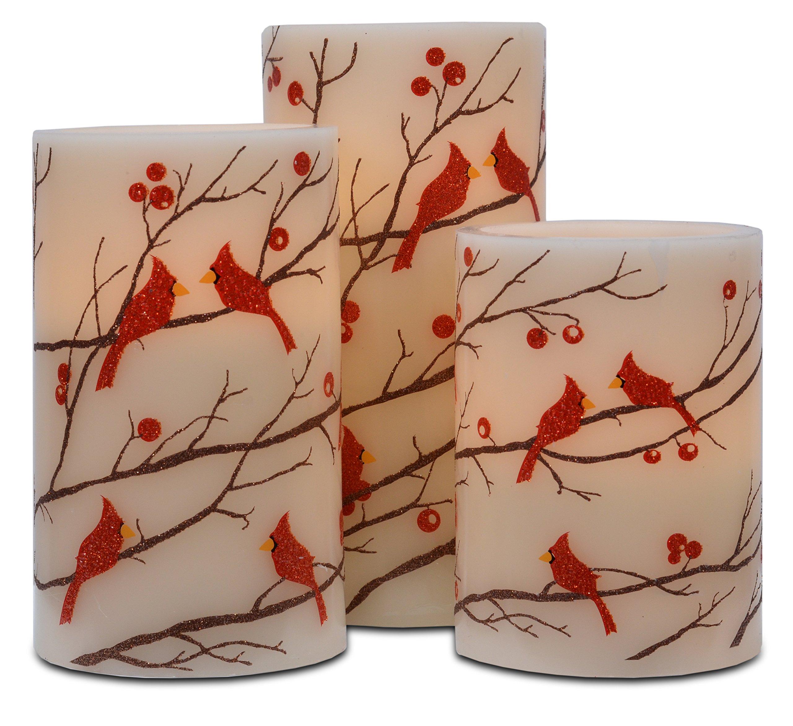 Mark Feldstein Flameless 3PC Glitter Berries And Cardinals Wax Pillars With Timer by Mark Feldstein