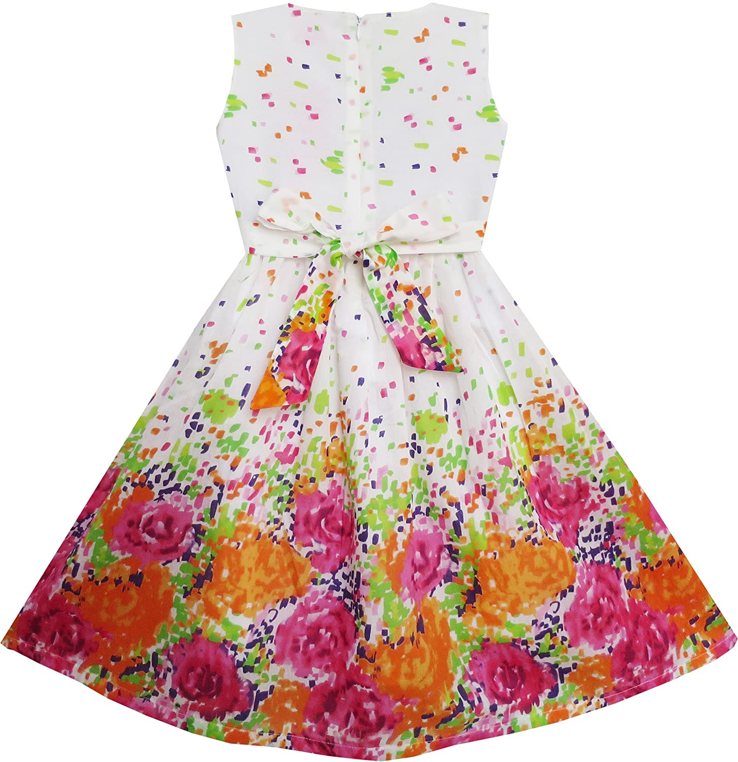 Sunny Fashion Girls Dress Butterfly Bow Tie Floral Sundress Birthday Size 4-12