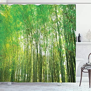 "Ambesonne Bamboo Tree Shower Curtain, Fresh Tall Bamboo Forest Natural Botanical Garden Growth Ecology, Cloth Fabric Bathroom Decor Set with Hooks, 70"" Long, Yellow Olive"