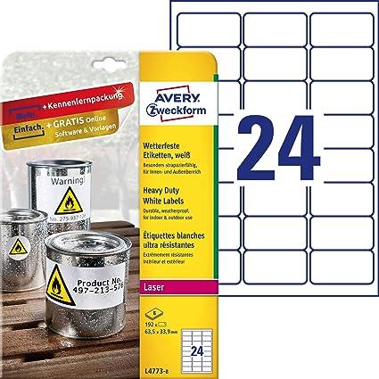 Avery España L4773-8 -Etiquetas blancas resistentes al agua, imprimibles 63,5x33,9mm, caja de 192 etiquetas: Amazon.es: Oficina y papelería