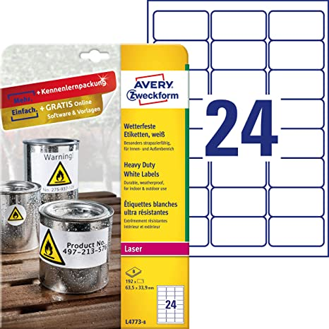 Avery Zweckform J4773-10 Wetterfeste Folien-Etiketten A4, 240 Stück, 63,5 X 33