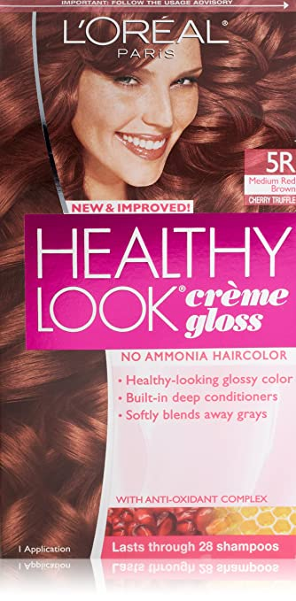 loreal paris healthy look crme gloss color medium red browncherry truffle - L Oral Gloss Color