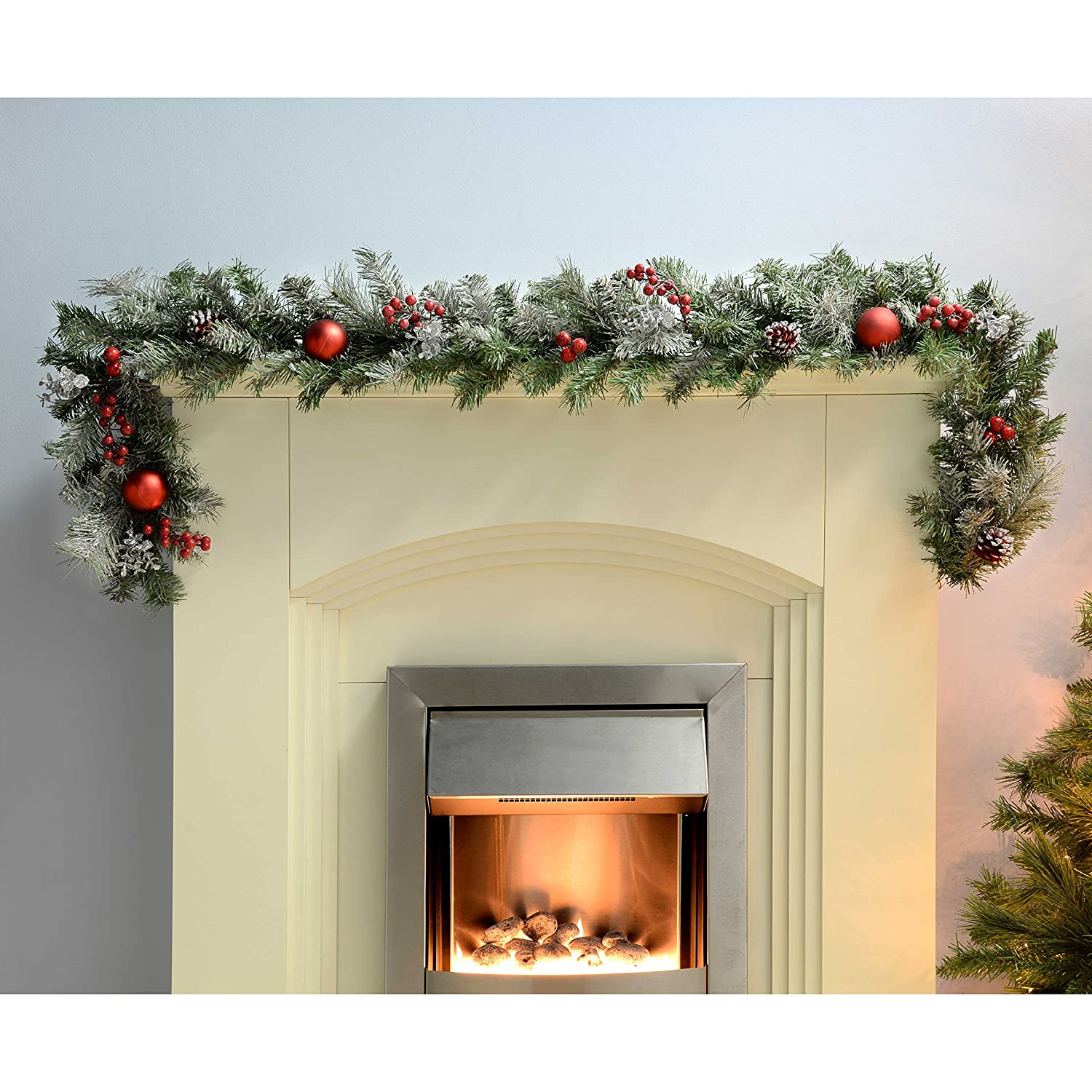 werchristmas frosted decorated garland christmas decoration 6