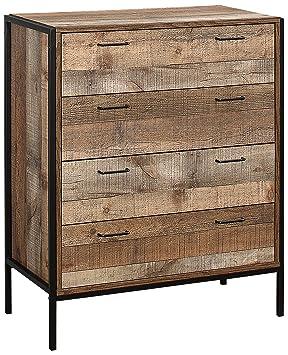 Birlea 4 Drawer Urban Chest Wood Rustic Amazoncouk Kitchen Home