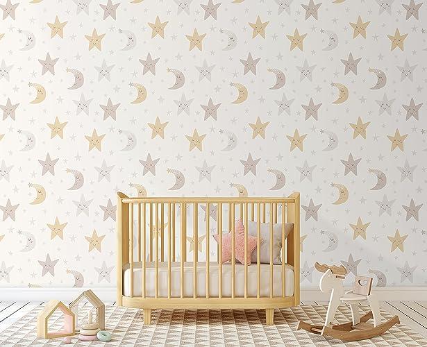 . Amazon com  Night Sky Nursery Wallpaper with Stars and Moon  Self