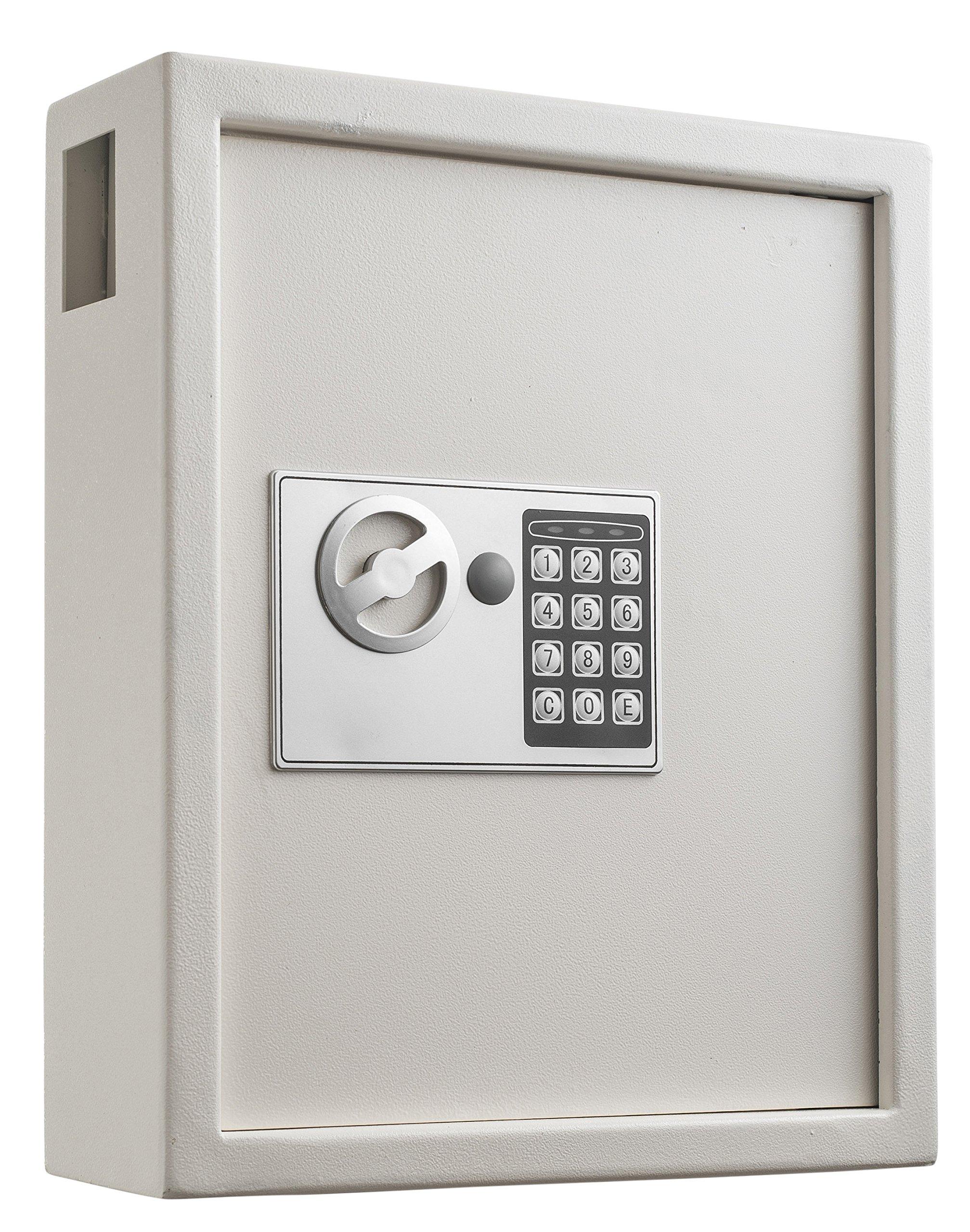 AdirOffice 40 Keys Cabinet with Digital Lock - Electronic Key Safe - Pin Code Keyless Storage Box for Keys - Secure Steel Lockbox - Scratch Resistant Powder Coated - Wall Anchor (White)