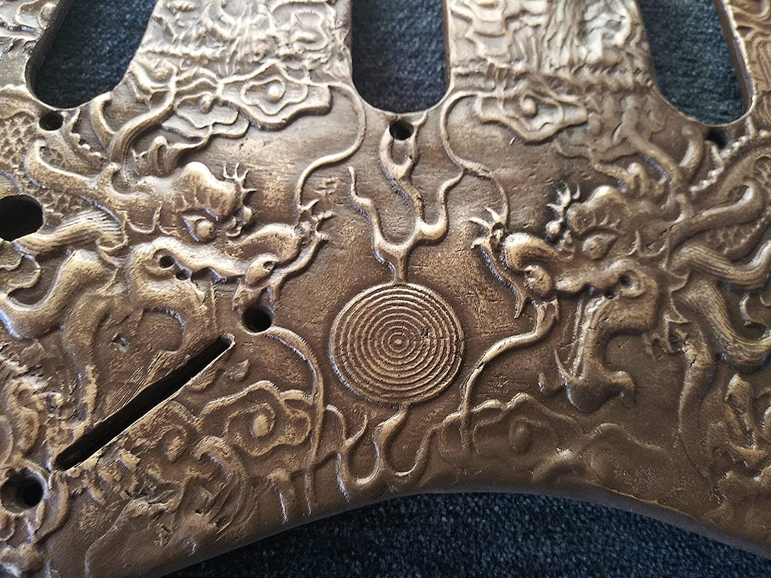 Bronze Dragon sculpted relief fits SSS style guitars! Not a toy.