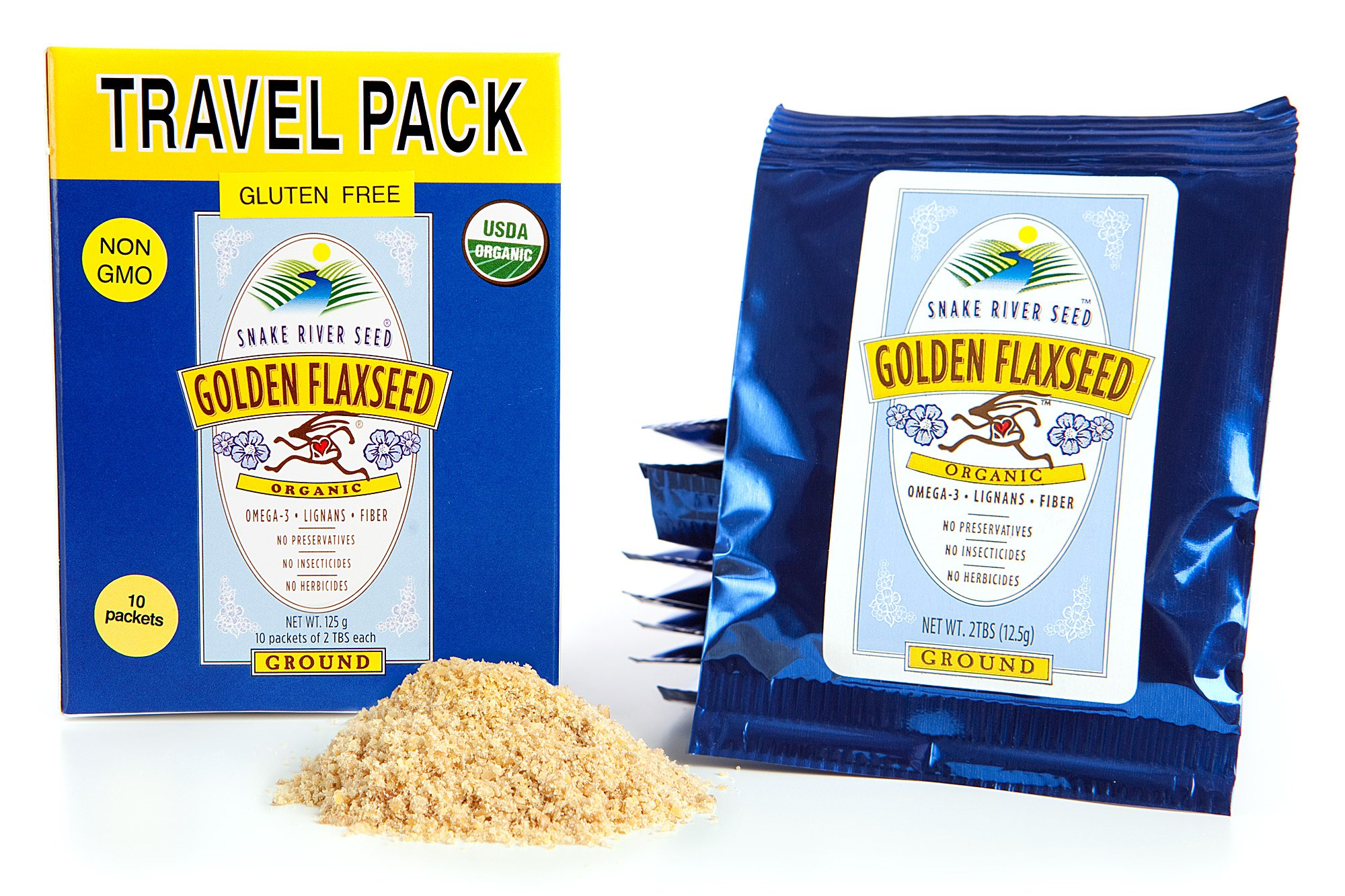 Farm Fresh 100% Natural Golden Flax Seed, Travel Pack, Freshly Ground, Organic, Gluten-Free, Non-GMO, Nutty Flavor by Snake River Seed (Image #1)
