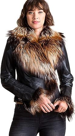3843cede943 Overland Sheepskin Co Celestine Lambskin Leather Moto Jacket with Fox Fur  Trim at Amazon Women s Coats Shop