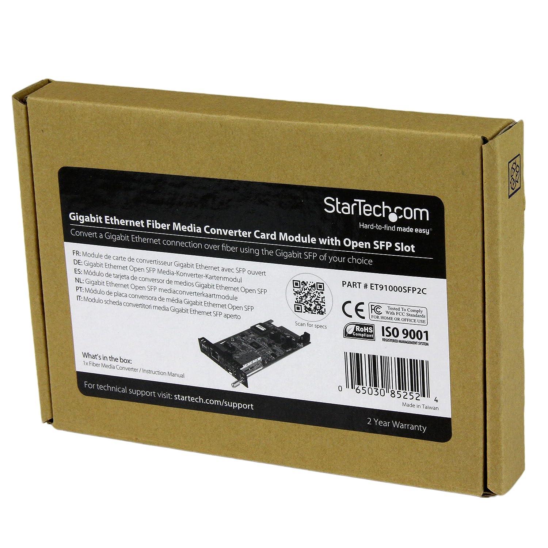 StarTech.com Gigabit Ethernet Fiber Media Converter Card Module w/Open SFP Slot - Fiber to Ethernet Converter - Ethernet Media Converter ...