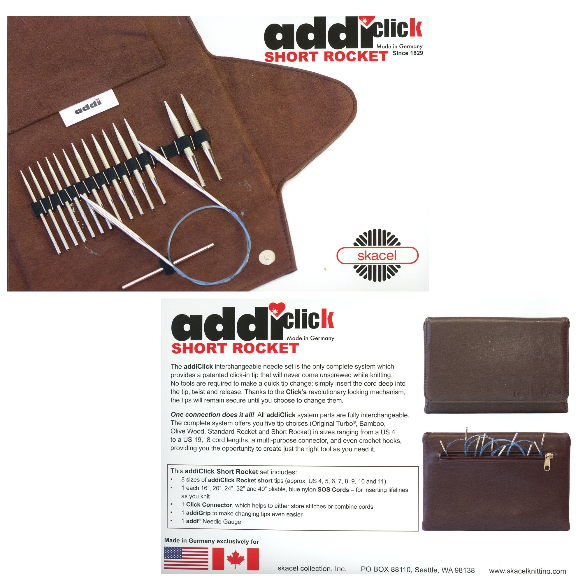 addi Knitting Needle Click Short Rocket Lace Interchangeable Circular System White-Bronze Finish Skacel Exclusive Blue Cords Bundle with 1 Artsiga Crafts Project Bag by Addi Knitting Needles (Image #3)