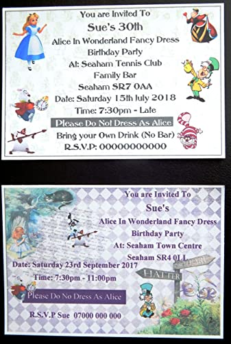25 32 40 50 75 Or 100 Personalised Alice In Wonderland Invitations Children S Adults Theme Party Invitations 2 Designs With Free Envelopes
