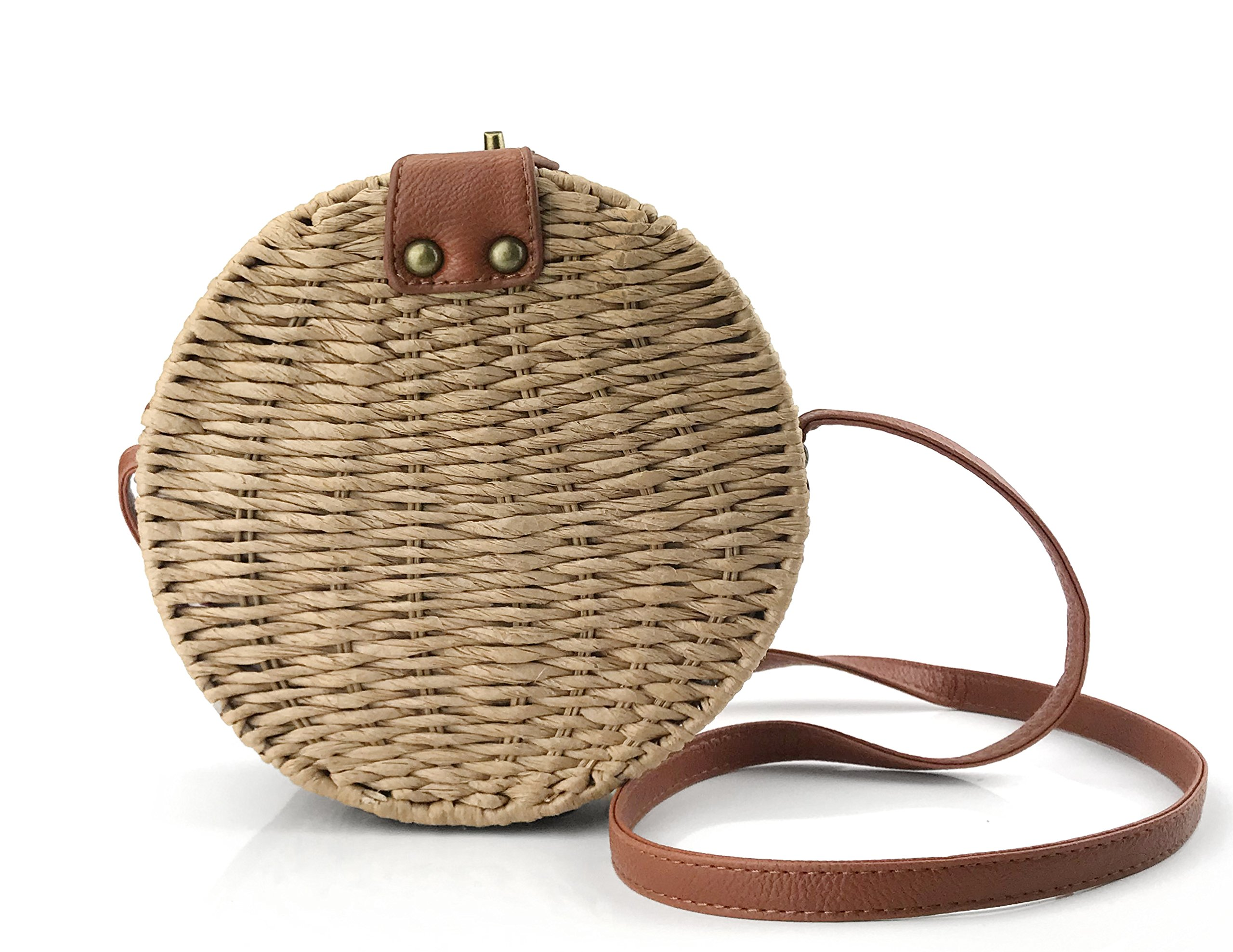 Round Straw Handwoven Shoulder Bag Women Cross body Bag for Summer Holiday (Brown)