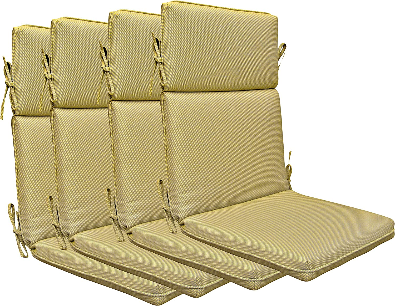 BOSSIMA Indoor Outdoor High Back Chair Cushions Replacement Patio Chair Seat Cushions Set of 4 (Yellow)