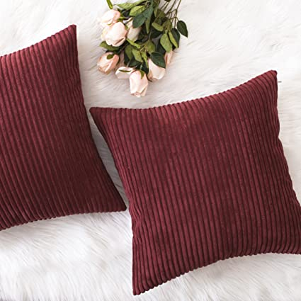 HOME BRILLIANT Decor Super Soft Plush Corduroy Striped Throw Pillow Cushion  Covers for Sofa/Couch/Bed, Set of 2, 18\