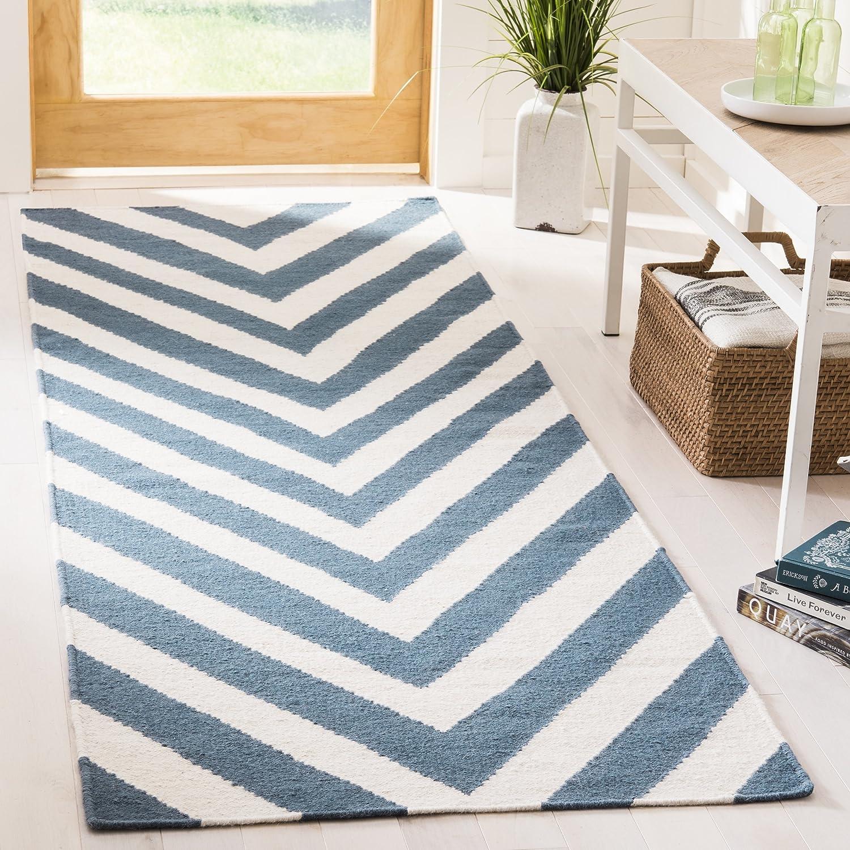 Safavieh Serena Dhurrie Teppich, DHU568, Handgetufteter Wolle, Blau/Elfenbein, 62 x 240 cm