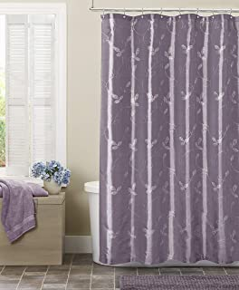 MAYTEX Laurel Embroidered Leaf Faux Silk Fabric Shower Curtain Purple