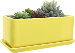 10 inch Rectangular Modern Minimalist Yellow Ceramic Succulent Planter Pot/Window Box with Saucer