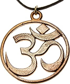 product image for Om Peace Bronze Pendant Necklace on Adjustable Natural Fiber Cord