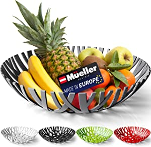 Mueller Fruit Basket, Decorative Fruit Bowl, Fruit and Vegetables Holder for Counters, Kitchen, Countertop, Home Decor, European Made, Gray