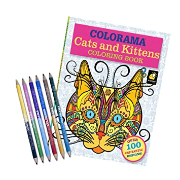 Colorama Adult Coloring Book Cats And Kittens With Pencil Set Over 100 Designs For Cat Lovers