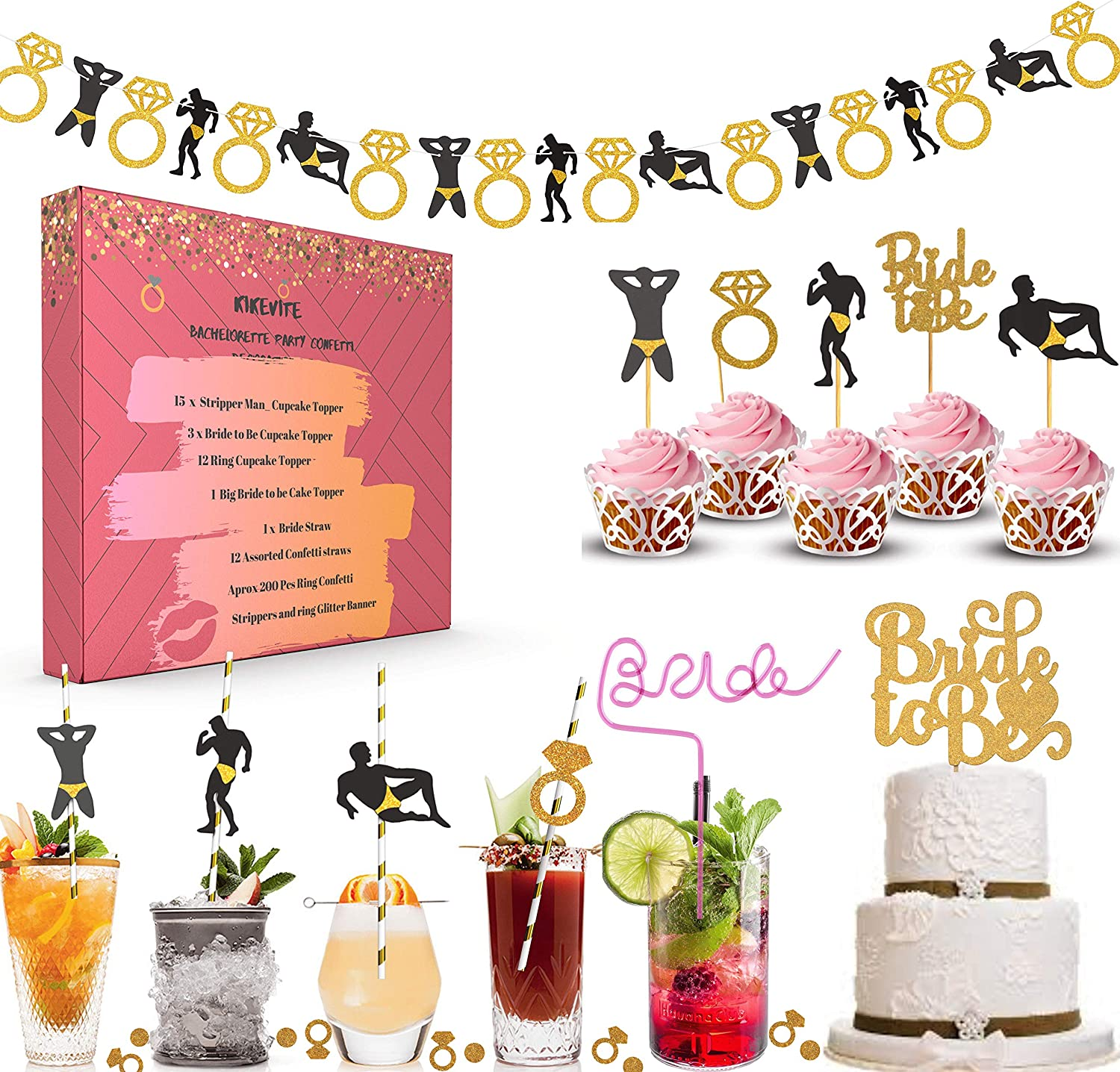 Bachelorette Party Decorations Kit I Bar Snack Table Decor I Bridal Shower Supplies I Stripper Man Engagement Ring Banner Garland, Gold Glitter Confetti, Cupcake Cake Topper, Straws Dancer Bride to Be