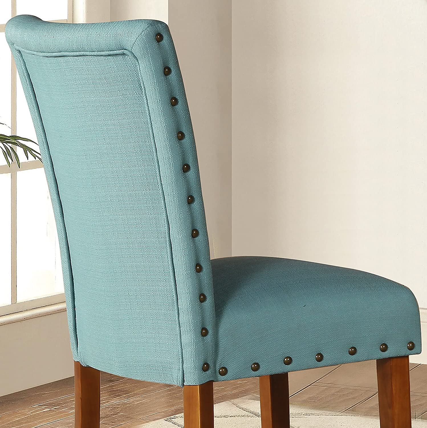 Top Amazon.com - Roundhill Furniture Elliya Fabric with Nailheads  OO71