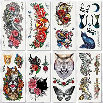 2f23bdbca Amazon.com : Leoars 8 Sheets Waterproof Bright Temporary Tattoos for Men  Women Body Art Tattoo Sticker Flash Tattoos Elephant Dog Cat Dragon Animal  Pattern ...