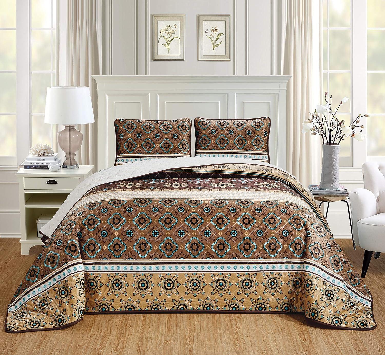 Chezmoi Collection 3-Piece Velvet Sherpa Quilt Set - Lightweight Cozy Warm Fluffy Plush Reversible Bed Blanket Comforter - Queen, Geometric Floral