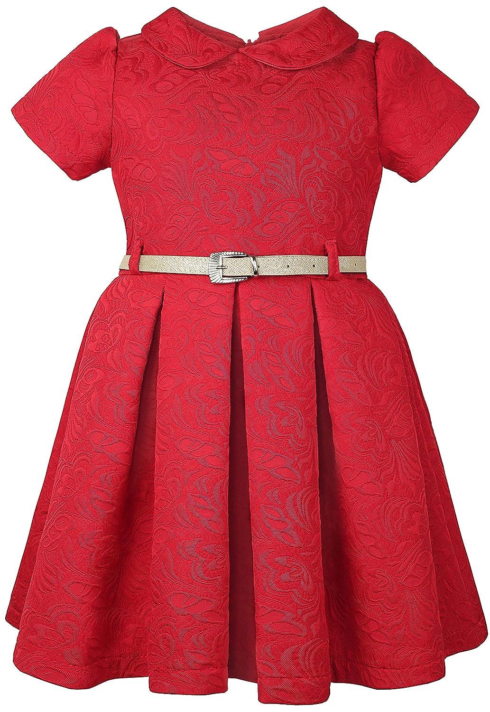 414089ca646 Amazon.com  Lilax Little Girls  Flocked Occasion Dress Shimmer Belt   Clothing