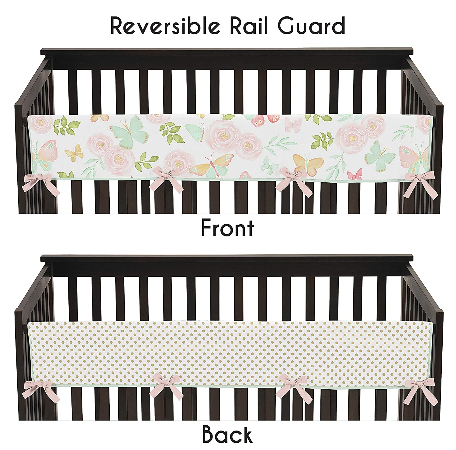 Sweet Jojo Designs Blush Pink, Mint, Gold and White Watercolor Rose Polka Dot Long Front Crib Rail Guard Baby Teething Cover Protector Wrap for Butterfly Floral Collection