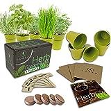 Indoor Herb Garden Starter Kit - 5 Herb Seeds Growing Kit with Bamboo Pots & Potting Soil - Non-GMO Gardening Kit - DIY Home