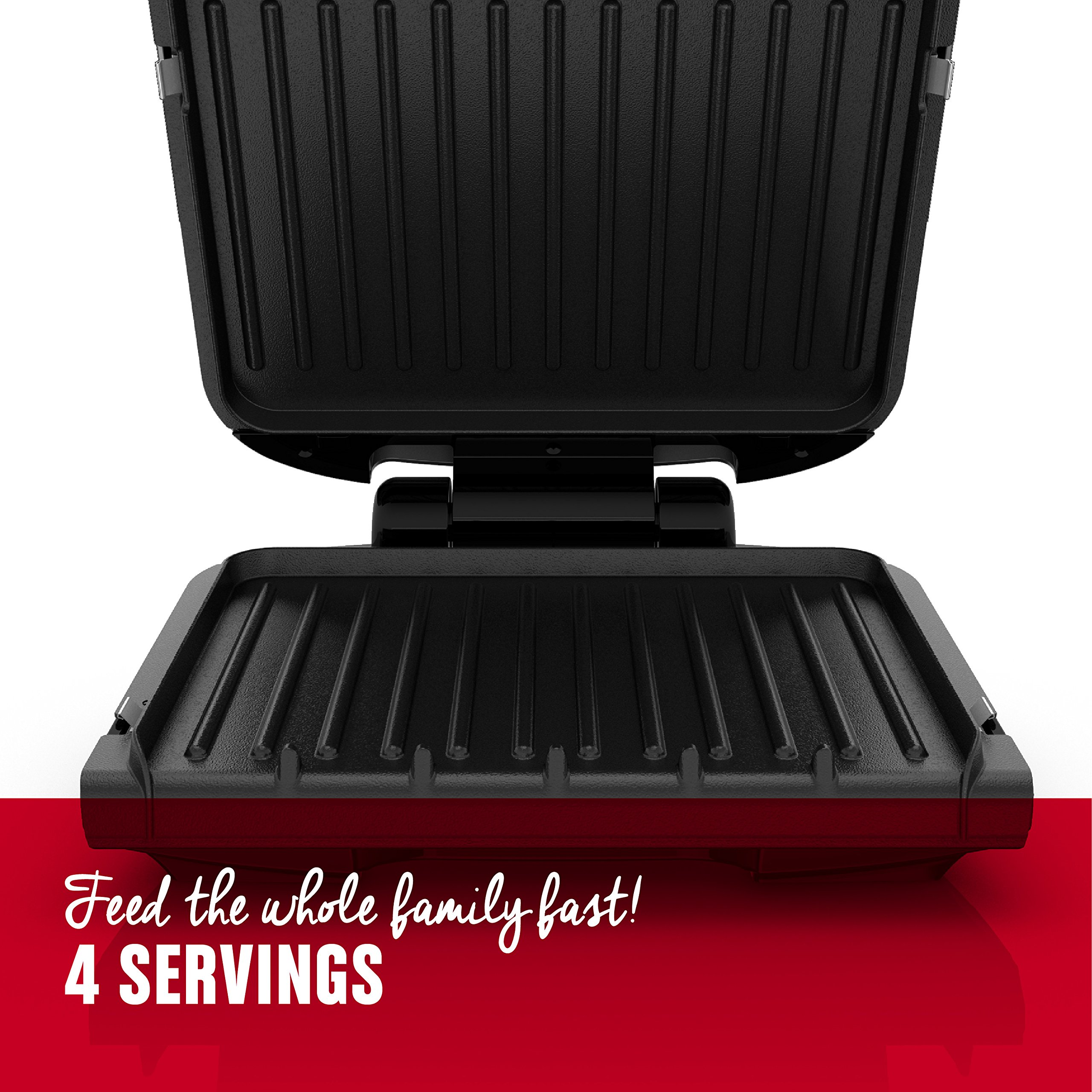 George Foreman 4-Serving Removable Plate Grill and Panini Press, Black, GRP1060B by George Foreman (Image #2)