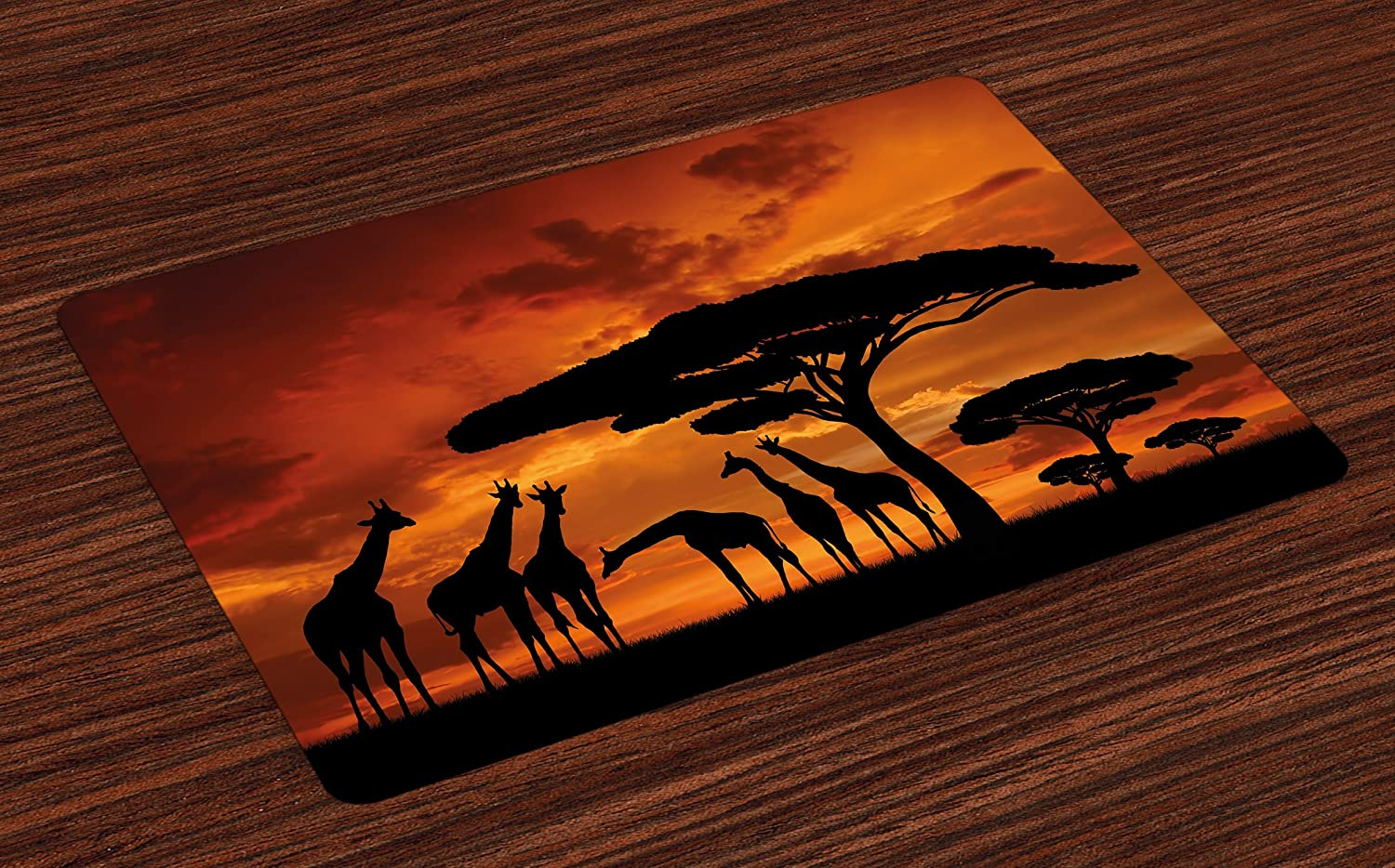 Burnt Orange and Black Lunarable Africa License Plate High Gloss Aluminum Novelty Plate 5.88 X 11.88 Safari Animal with Giraffe Crew with Majestic Tree at Sunrise in Kenya
