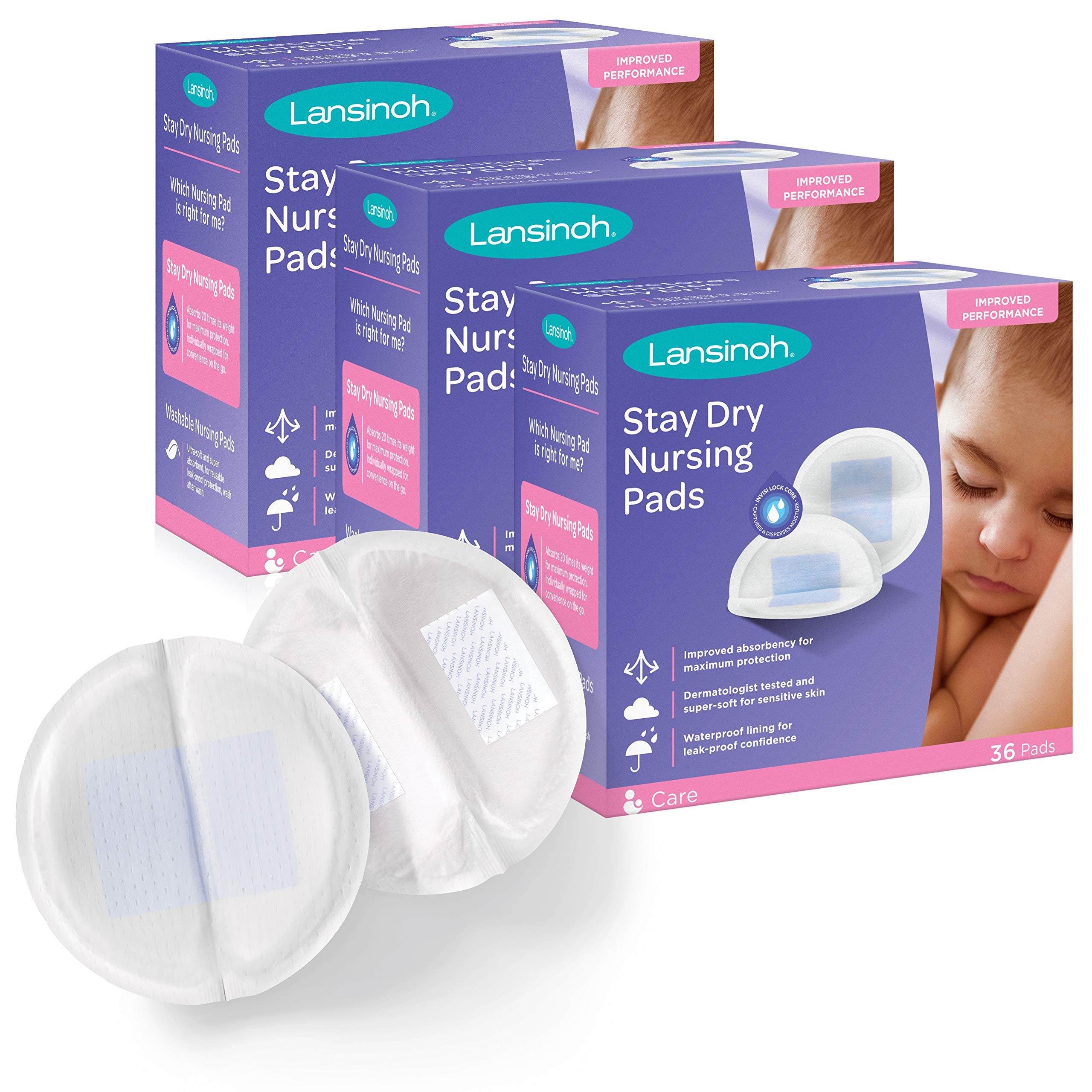 Lansinoh Stay Dry Disposable Nursing Pads for Breastfeeding, 108 Pads