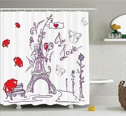 Ambesonne Valentines Day Eiffel Tower Shower Curtain Set Paris Decor Autumn Romantic Historic Love