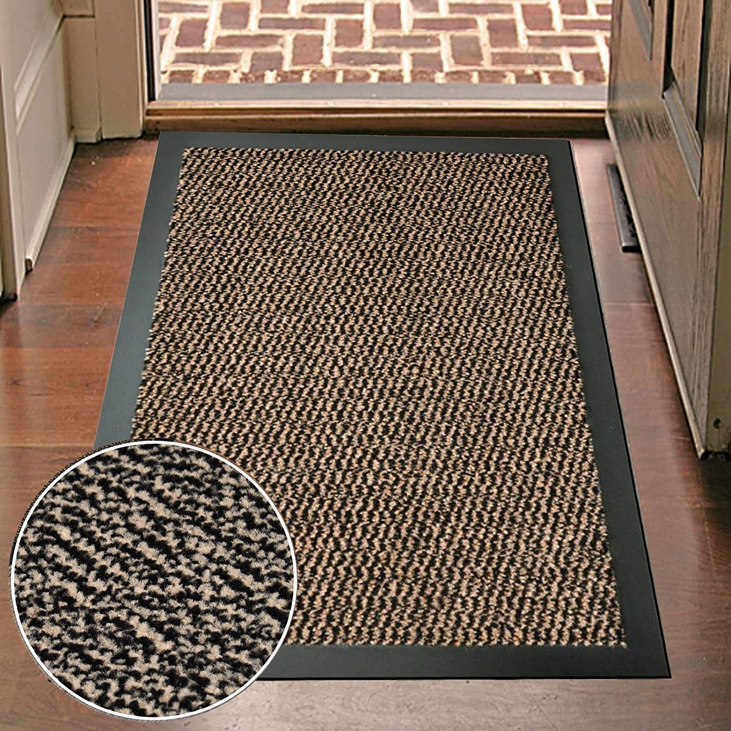 Large 80 x 120cm High Quality Non Slip Machine Washable Commodore Barrier Entrance Mats Kitchens Doors Dirt Trapper-Brown UR CHOICE