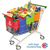 Trolley Bags - Shopping Cart Bags - Reusable Grocery Bags with Large Insulated Cooler Bag - US Shopping Cart Sized Eco-Friendly Pack of 4 Grocery Tote