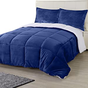 Utopia Bedding All Season Alternative Fleece Comforter - Reversible Sherpa Comforter Set (Queen, Navy) with 2 Pillow Shams - Soft and Comfortable - Machine Washable