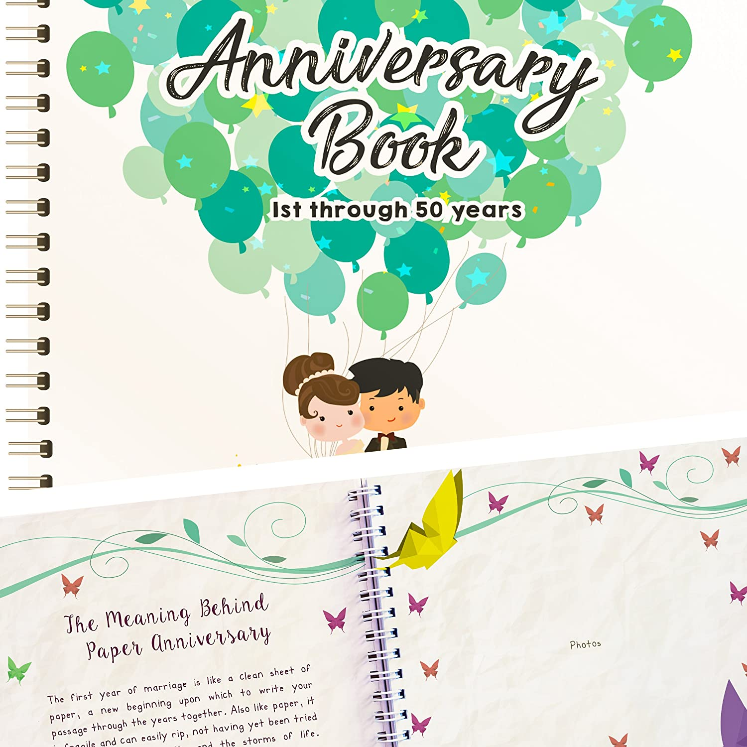 Wedding Anniversary Book - A Hardcover Journal To Document Wedding Anniversaries From The 1st To 50th Year! Unique Couple Gifts For Him & Her - Personalized Marriage Presents For Husband & Wife! Unconditional Rosie ANNIVERSARYBOOKA