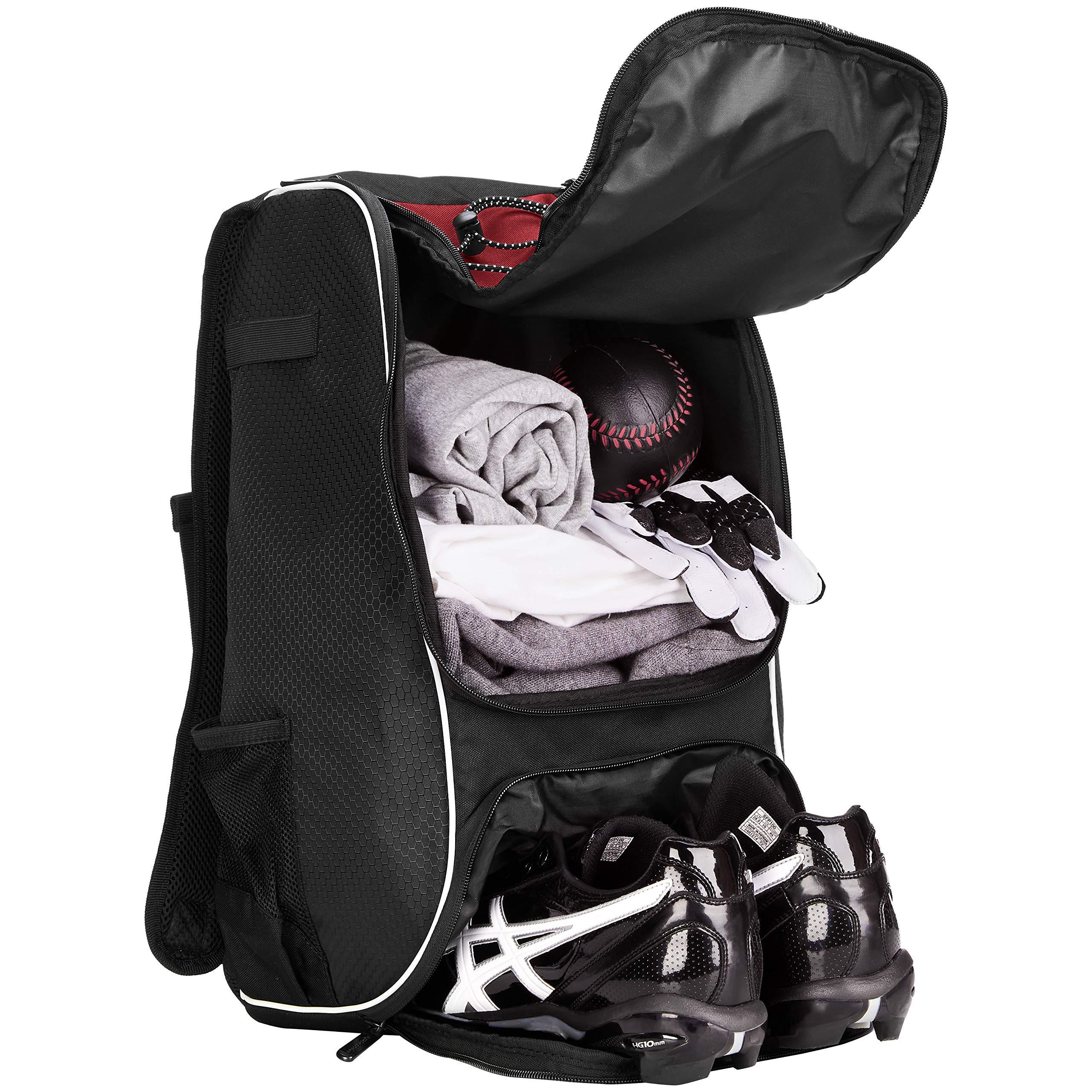 AmazonBasics Youth Baseball Equipment Backpack, Red by AmazonBasics (Image #4)