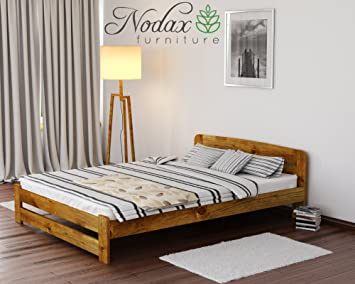 new solid wooden pine bed frame with slats one - Pine Bed Frame