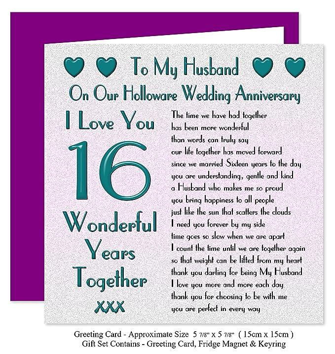 My Husband 16th Wedding Anniversary Gift Set Card Keyring