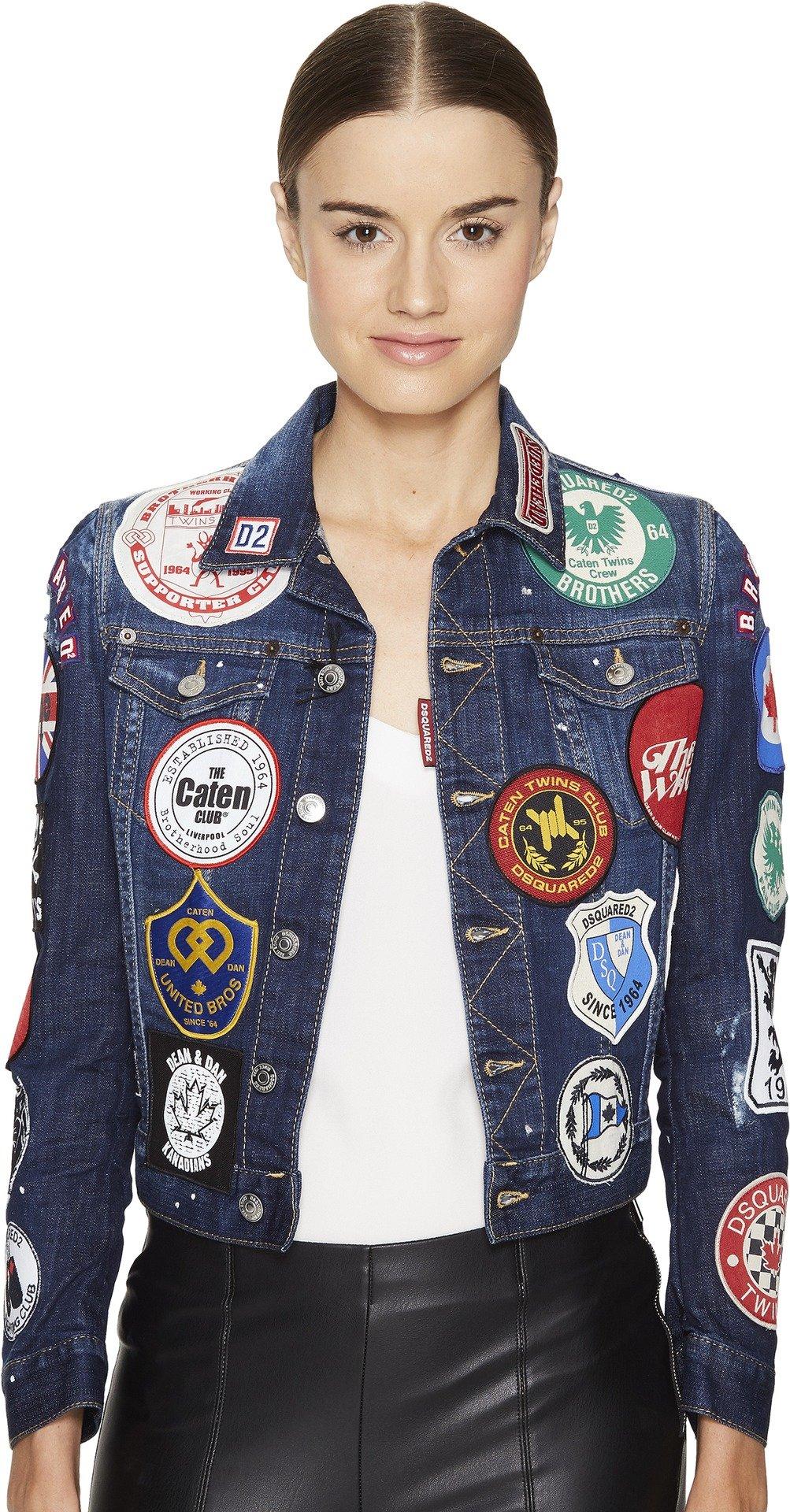 DSQUARED2 Women's Denim Multi Patch Jacket Blue 38