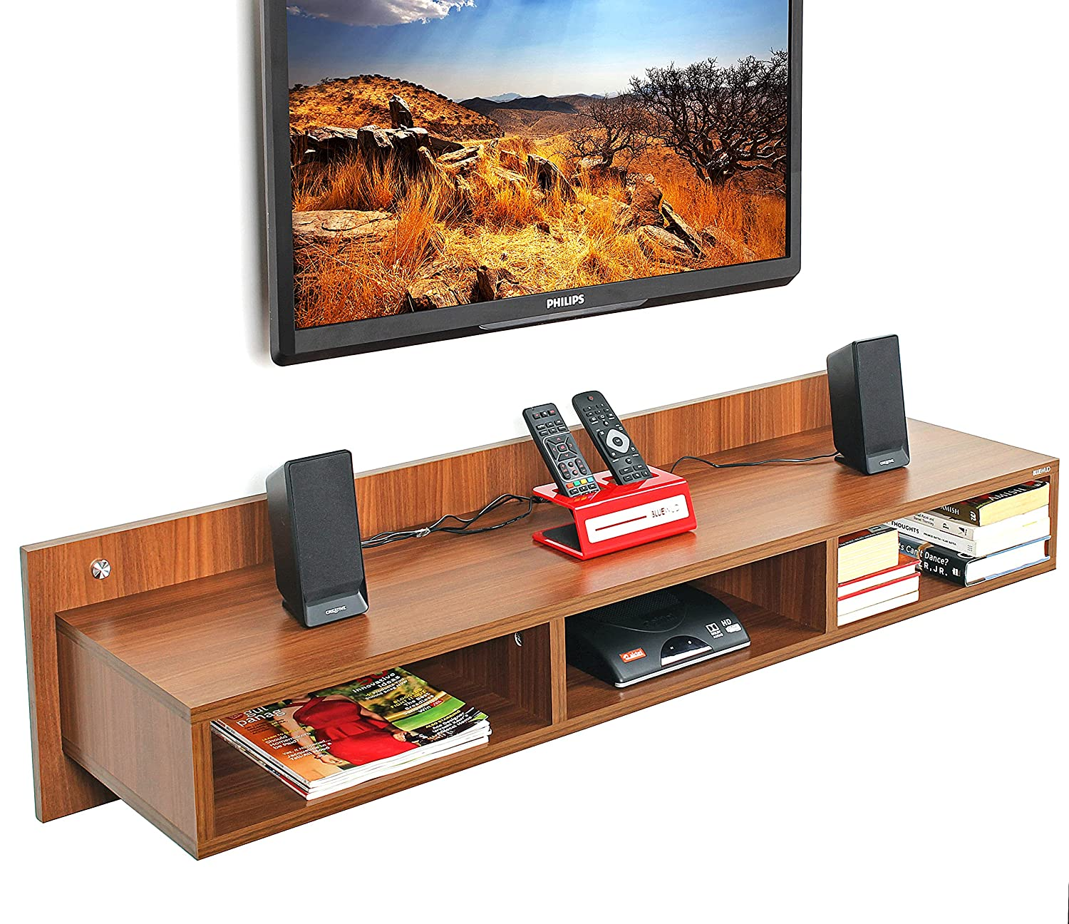 c4980c85d08 Bluewud Reynold TV Entertainment Unit Wall Set Top Box Stand Shelf (Large  Walnut)  Amazon.in  Home   Kitchen