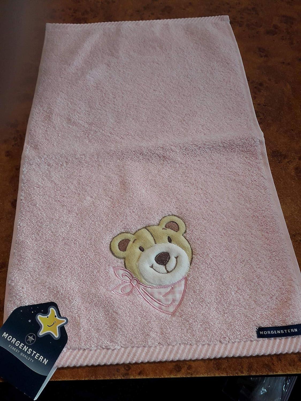 Morgenstern Gästetuch Bär mit Latz rosa 30x50 cm