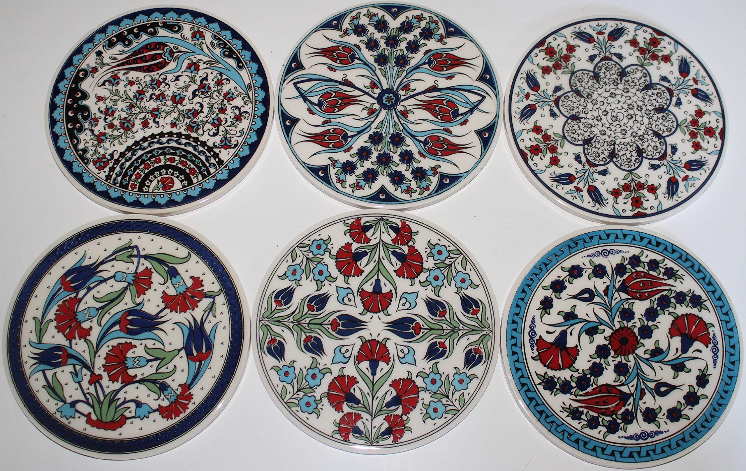Turkish Handmade Iznik Floral Pattern Ceramic 6.5'' Trivet Set of 6 by Ceramia