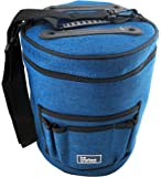 (Blue, Fabric) - BEST KNITTING BAG FOR YARN STORAGE. Portable, Light and Easy to Carry- enjoy knitting /crocheting anywhere. Pockets for Accessories and Slits on Top to Protect Yarn and Prevent Tangling.