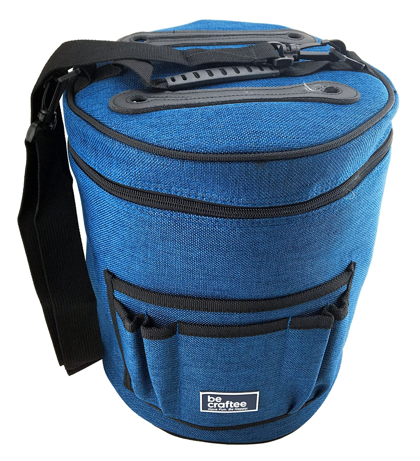 BEST KNITTING BAG FOR YARN STORAGE. Portable, Light and Easy to Carry- enjoy knitting /crocheting anywhere. Pockets for Accessories and Slits on Top to Protect Yarn and Prevent Tangling.