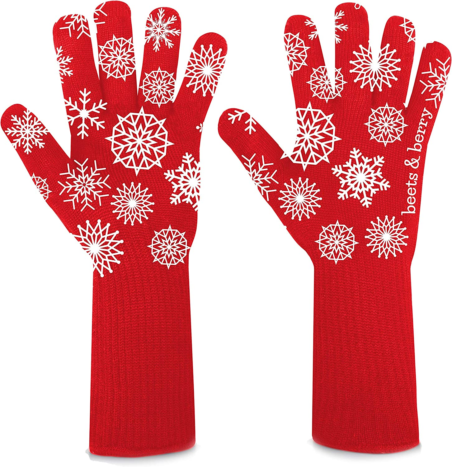 Beets & Berry Oven Gloves Heat Resistant Holiday Oven Mitts for Women Xmas Gifts | 1 Pair Cut Resistant Cooking Gloves with Extra Long Sleeves & Silicone Non-Slip (Holiday Design)